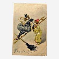 German New Year Chimney Sweepers Postcard / Girl Chimney Sweep / German Postcard / Collectible Postcard / Vintage Postcard