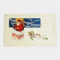 Santa Going Down the Chimney Postcard - Santa Clause Postcard - Vintage Postcard