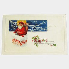 Santa Going Down the Chimney Postcard - Santa Clause Postcard - Vintage Postcard