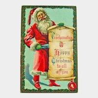 Santa Holding Banner Postcard - Christmas Postcard - Vintage Postcard