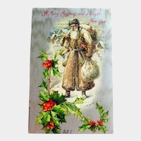 Brown Robe Santa Postcard - Winsch Santa Postcard - Brown Coat Santa - Old World Santa - Vintage Postcard