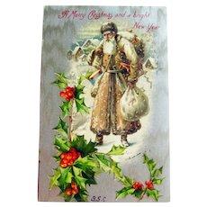 Brown Robe Santa Postcard - Winsch Santa Postcard - Brown Coat Santa - Old World Santa - Vintage Postcard