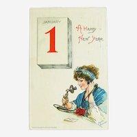 Brundage New Year Postcard - Happy New Year Telephone Call - Sam Gabriel Postcard