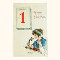 Brundage New Year Postcard - Happy New Year Telephone Call - Sam Gabriel Postcard
