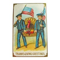 Thanksgiving Postcard - Boys with Flags - Turkey and Fruit Basket - Vintage Postcard
