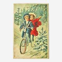 French New Year Postcard - Kids on Bike Postcard - Holiday Postcard - Holiday Decor