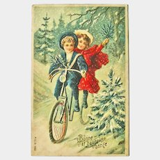 French New Year Postcard - Kids on Bike Postcard - Holiday Postcard - Holiday Decor