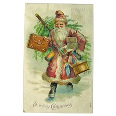 Old World Santa Postcard - Santa Carrying a Tree - Vintage Christmas - Holiday Decor