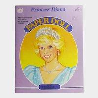 Princess Diana Paper Doll Book - Golden Book - 1985 Paper Doll - Vintage Princess Diana