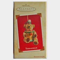 Hallmark Threadbear Ornament:Teddy Bear Ornament:Sewing Theme:Christmas Tree
