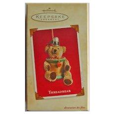 Hallmark Threadbear Ornament:Teddy Bear Ornament:Sewing Theme:Christmas Tree