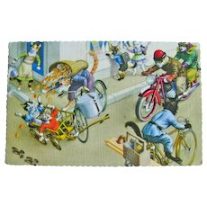 Alfred Mainzer Dressed Cats - Anthropomorphic Cats - Cats on Bicycles