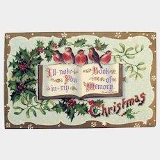 Christmas Postcard with Birds - Collectible Postcard