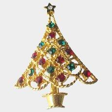 Eisenberg Ice Christmas Tree Pin - Holiday Brooch