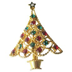 Eisenberg Ice Christmas Tree Pin - Holiday Brooch