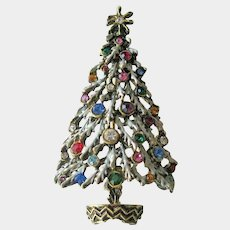 Frosted Christmas Tree Pin: Snow Covered Christmas Tree Brooch