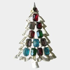 Frosted Christmas Tree Pin - Emerald Cut Rhinestones