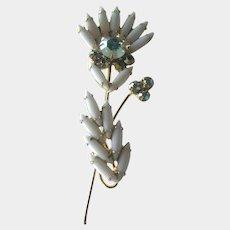 Juliana DeLizza and Elster Brooch / Milk Glass Stones / Aurora Borealis / Designer Jewelry / Juliana PIn