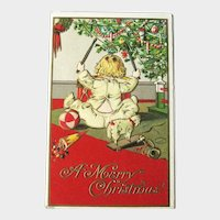 Child Playing Drum - Christmas Postcard