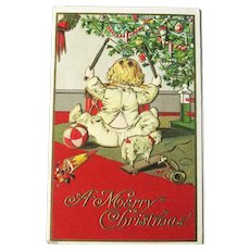 Child Playing Drum - Christmas Postcard