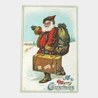 Santa with Suitcase Postcard - Santa Hitching - Vintage Postcard