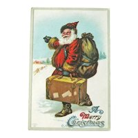 Santa with Suitcase Postcard - Santa Hitching - Vintage Postcard