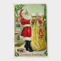 Santa Postcard with Large Bag of Toys - Monogrammed Bag - Vintage Postcard