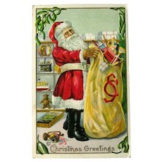 Santa Postcard with Large Bag of Toys - Monogrammed Bag - Vintage Postcard