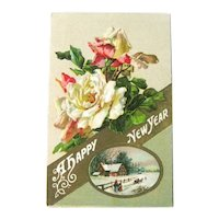 Winsch New Year Postcard - Roses Postcard - Pastoral Scene