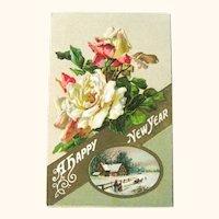 Winsch New Year Postcard - Roses Postcard - Pastoral Scene