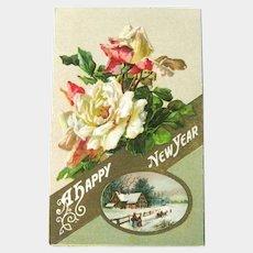 New Year Postcard - Roses Postcard - Pastoral Scene