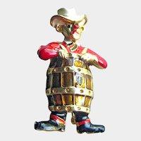 Rodeo Clown Pin - Clown in Barrel Brooch - Figural Pin