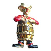 Rodeo Clown Pin - Clown in Barrel Brooch - Figural Pin