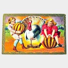 Thanksgiving Postcard - Pumpkins Children and Turkey - Collectible Postcard