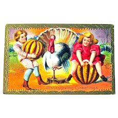Thanksgiving Postcard - Pumpkins Children and Turkey - Collectible Postcard