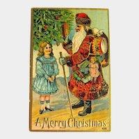 Rare Gold Gilt Gel Old World Santa Postcard - Vintage Christmas Postcard