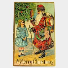 Rare Gold Gilt Gel Old World Santa Postcard - Vintage Christmas Postcard