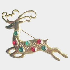 Reindeer Pin - Leaping Reindeer - Christmas Pin - Gift for Her - Collectible Jewelry