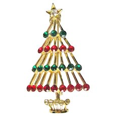 Open Work Christmas Tree Pin - Mod Style Christmas Tree Pin - Rhinestone Tree - Christmas Decor