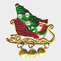 Colorful Christmas Sleigh Pin - Sleigh with Tree - Holiday Collectible