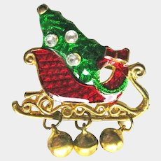 Colorful Christmas Sleigh Pin - Sleigh with Tree - Holiday Collectible