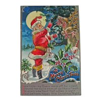 Santa and Reindeer Postcard - Silver Santa Postcard -  Red Suit Santa - Christmas Decor