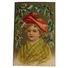 Child Christmas Postcard - International Publishing Co Card - Joyous Christmastide Postcard