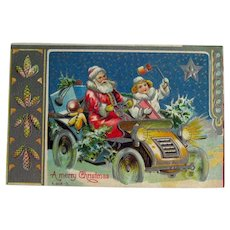 Art Nouveau Santa in Old Car Postcard - Silver Postcard - Art Nouveau Card