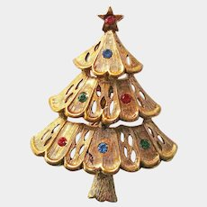 JJ Christmas Tree Pin / Tree with Rhinestones / Collectible Tree Pin