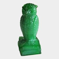 Degenhart Jade Green Owl Figurine - Collectible Owl