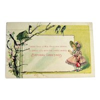 Birthday Postcard with Little Girl - Glitter Card - Collectible Card