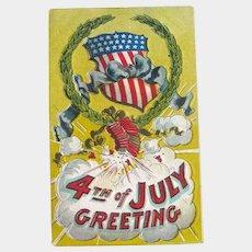 Patriotic Postcard / Fourth of July / Fireworks Postcard
