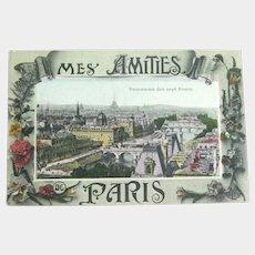 Paris Panorama Postcard - Chromolithograph Card