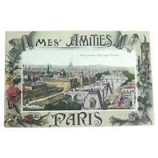 Paris Panorama Postcard - Chromolithograph Card
